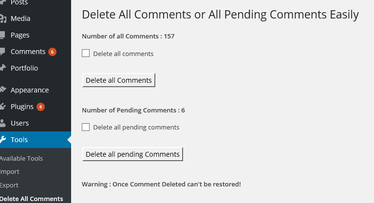 how to delete comments on wordpress
